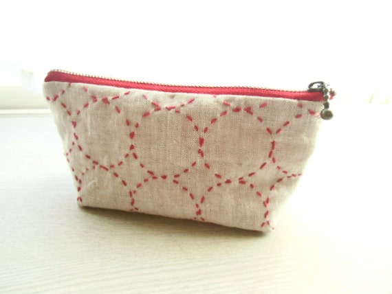 30% OFF !  sashiko pouch (RED)