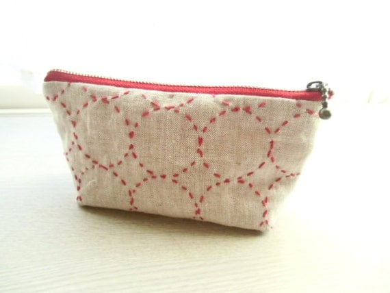 30% OFF !  sashiko pouch (RED)