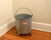 Vintage Galvanized Bucket with Wheels, White