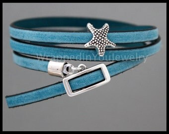 "23"" Long - Denim Blue LICORICE Leather Wrap Starfish Beaded Bracelet - Adjustable DOUBLE TRIPLE Wrap Spanish Leather Greek Buckle Clasp  288"
