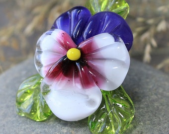 Lampwork Beads - 1 pc Glass Pansy Bead, Sculpted Pansy Beads, Glass Beads, Floral Lampwork, Lampwork Flower Beads, SRA Beads, Pansy