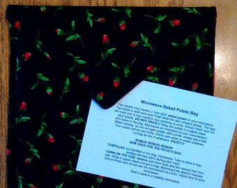 "Handmade - Microwave Potato Baker Bag/Hot Pad ""Rose"" Print."