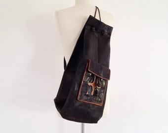 large boho bag / leather rucksack african bag leather 70s shoulder bag beach purse ethnic