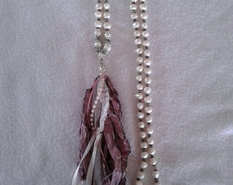 Bohemian, Shabby Chic necklace with hand knotted Freshwater Pearls & Sari Silk tassel.
