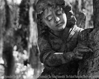 Guardian Angel Statue, Bonaventure Cemetery Savannah, Georgia, Black and White, Sorrow, Peaceful, Memorial, Oddity, Fine Art Photography