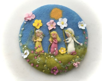 Flower children ,Picture,tapestry,Wet felted,Needle Felted. Waldorf,Spring.