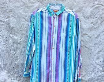 Vintage 90s Mens White Striped Southwest Hipster Purple Teal Button Down Small and Large