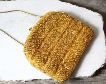 1950s gold beaded clutch  // bridesmaid clutch // vintage purse