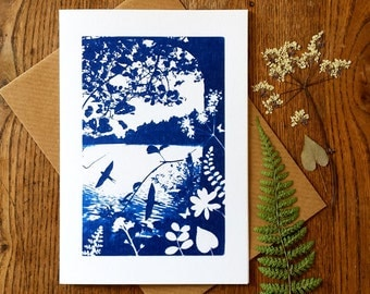 Swallows Return Blue Cyanotype Card