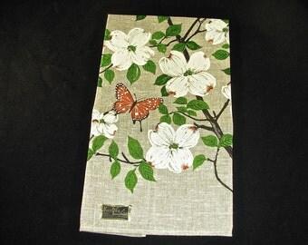 Kay Dee Hand Prints LINEN KITCHEN TOWEL, Butterfly & Dogwood Flowers, Designer Signed