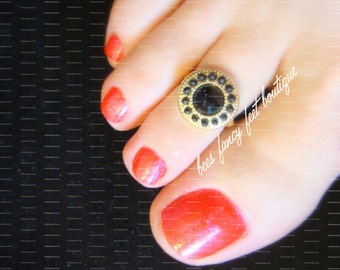 Toe Ring - Black and Gold Slider - Stretch Bead Toe Ring