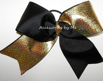 Big Cheer Bow, Black Gold Dance Bow, Foil Sparkly Cheerleader 7 Inch Bows, Softball Bows, Volleyball Bows, Cheerbows Cheap Bulk Price Sale