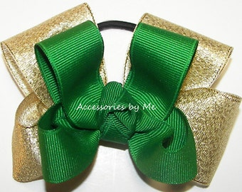 Bulk Price, Cheer Bow, Custom Team Color Ribbons Pigtail, Green Gold Metallic Hair Clip, Wholesale Volleyball Softball Football Soccer Bows