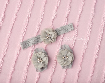 Grey baby footless sandals and matching headband, white newborn sandals, baby sandals