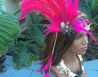 Fushcia pink headband with feathers and tiare
