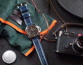 Navy Blue Italian Leather Panerai Watch Strap 24mm (Free Shipping)
