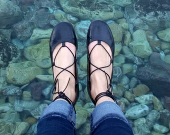 FREE SHIPPING Lace-Up Ballet Flats-Tie-up leather ballerinas-Round toe Black Leather ballet flats