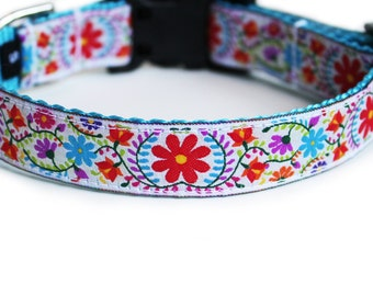 Flowers Dog Collar, Summer, Rescue, Daisy Dog Collar, White, Tulip Dog Collar, Cute, Girl Dog Collar - Joyful Blooms