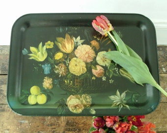 Lovely vintage floral tin tray, depicting oil painting of flowers with roses and tulips.