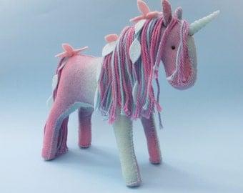 Felt Fairy Pony Horse or Unicorn Sewing Pattern PDF, Waldorf Soft Toy Felt Animal