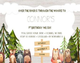 Woodland Birthday Invitation Digital File ONLY