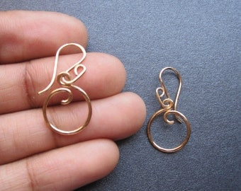 MINI CIRCLE Hammered Interchangeable Petite Hoop Earrings Sterling Silver, Gold Filled, Rose Gold Free Drops