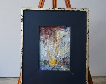 """Original Oil Painting, Miniature, Abstract, Cityscape,  """"This is Where I will Go"""", oil on panel, 7"""" x5"""" ( 12""""x10"""" framed), by Grigor Malinov"""