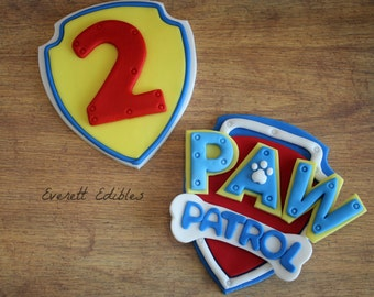 Paw Patrol Fondant Cake Topper 2pc Decoration