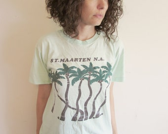 Vintage Light Green St Maarten Island Palm Tree Vacation T Shirt