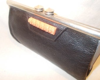Vintage Art Deco 1930's black leather chrome and bakelite clutch