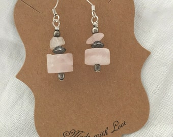 Silver Earrings Soft Pink