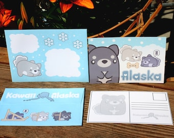 Kawaii Alaska Huskee Postcards and Envelopes