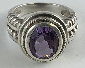Vintage Clyde Duneier Amethyst Sterling Silver Statement Ring