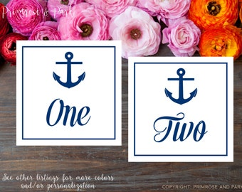 Nautical Table Number Cards Printable // Anchor Theme // Instant Download
