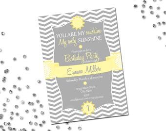 You Are My Sunshine Birthday Party Invitation - Sunshine Birthday - Yellow and Grey - Chevron Stripes - DIY - Printable