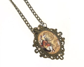 SALE Alice in Wonderland White Rabbit Necklace