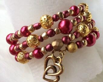 Heart Bracelet - Valentines Day Bracelet - Pearl Wrap Bracelet - Triple Wrap Bracelet - Pearl Bracelet