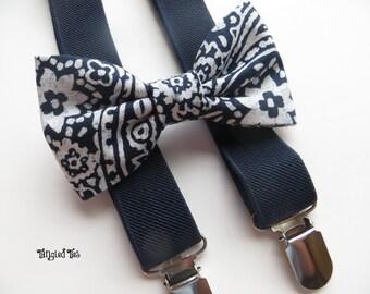Navy Toddler Elastic Suspender Set, Navy Suspenders and Bow Tie, Boys' Navy Suspender Set