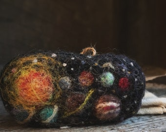 Brooch, Our Solar System, Needle Felted Portrait, Fiber Art, by Wooly Topic