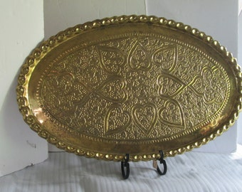 Extra Large Vintage Brass Heart Tray