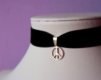 Peace Sign Silver Charm Red / Black Velvet Choker Necklace Retro 90s / For Her