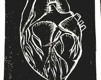 "Anatomical heart original limited edition linoleum cut print 8"" x 6 """