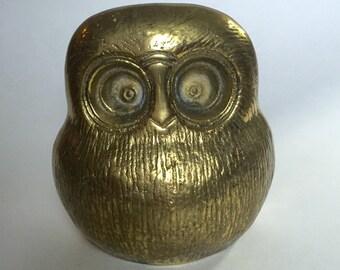 Vintage Mid Century Modern Brass Owl