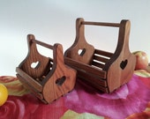 Sweet Heart Nesting Baskets, Pair of Hand Crafted Oak Wood Slat Wedding Flower Girl, Centerpiece, Valentines Day Gift, Country Cottage Decor