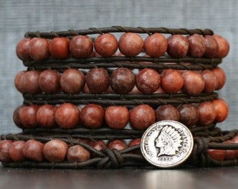boho western wrap bracelet- red sesame jasper on black brown leather - beaded leather wrap bracelet - mens or womens - bohemian gypsy