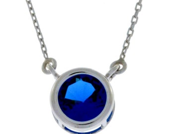 Blue Sapphire Round Bezel Pendant .925 Sterling Silver