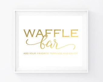 """Instant Download, Gold Foil Waffle Bar Sign 8""""x10"""", Print Ready Wedding Sign, Wedding Decor Template, Cheap Printable PDF and JPEG (WB1)"""