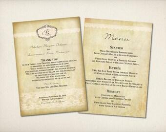 "Wedding Menu with Thank You Card, Rustic Lace Menu, Modern Vintage Menu, Romantic Elegant Lace Menu, 5""x7"" Double Sided DIY Printable (M7)"