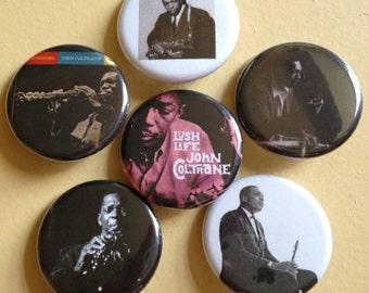 "John Coltrane pin back buttons 1.25"" set of 6"