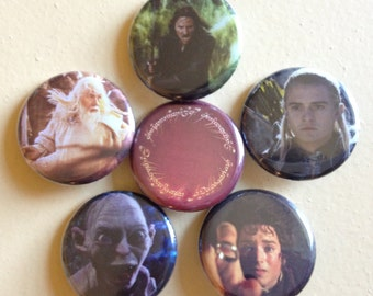 "Lord of the Rings pin back buttons 1.25"" set of 6"